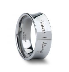 Handwritten Engraved Concave Tungsten Ring Polished- 4mm - 8mm