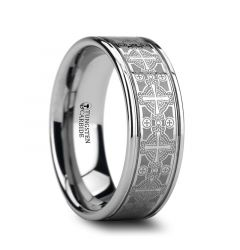 DEACON Flat Grooved Tungsten Ring with Engraved Intricate Cross Pattern - 8mm
