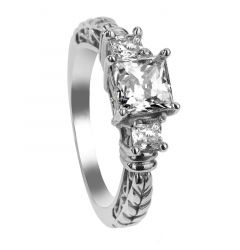 FLORA Three Princess Cut Settings Engagement Ring with Filagree Pattern - MADE WITH SWAROVSKI® ELEMENTS
