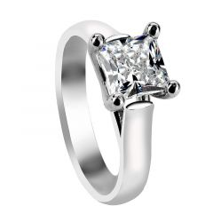 ZARA Four Prong Solitaire Engagement Ring with Princess Cut Setting - MADE WITH SWAROVSKI® ELEMENTS