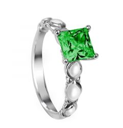VERNA Four Prong Vintage Princess Cut Solitaire Emerald Engagement Ring