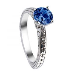 WISTERIA Round Cut Solitaire Blue Sapphire Engagement Ring with Polished Filagree Pattern