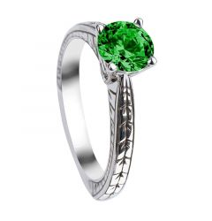 LAUREL Round Cut Solitaire Emerald Engagement Ring with Polished Filagree Pattern