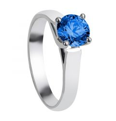 DOLI Cathedral Style Four Prong Blue Sapphire Engagement Ring with Polished Finish