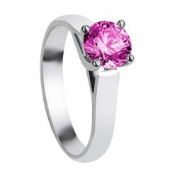 SOPHIA Cathedral Style Four Prong Round Pink Sapphire Engagement Ring with Polished Finish