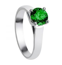 CHLOE Cathedral Style Four Prong Solitaire Green Emerald Engagement Ring with Polished Finish