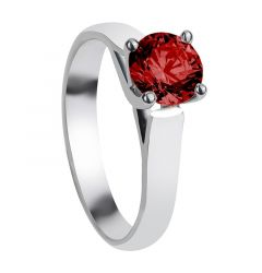 CARNATION Cathedral Style Four Prong Ruby Engagement Ring with Polished Finish