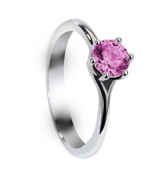 BLAIRE Six Prong Round Solitaire Pink Sapphire Engagement Ring with Polished Finish