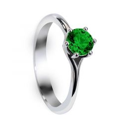 FERN Six Prong Round Solitaire Green Emerald Engagement Ring with Polished Finish