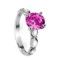 JILLIAN Four Prong Vintage Round Solitaire Pink Sapphire Engagement Ring