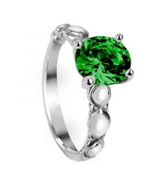 LILY Four Prong Vintage Round Solitaire Emerald Engagement Ring