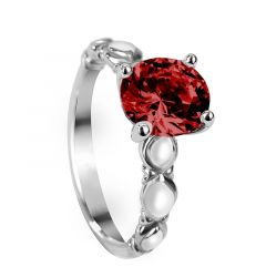 KAMALA Four Prong Vintage Round Solitaire Ruby Engagement Ring