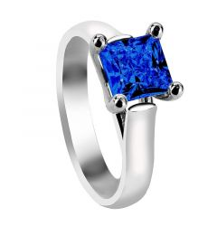 AZURA Four Prong Solitaire Engagement Ring with Princess Cut Blue Sapphire Setting