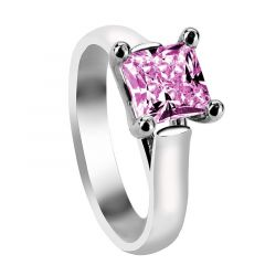 MARLENE Cathedral Style Four Prong Princess Cut Solitaire Pink Sapphire Engagement Ring