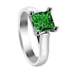 CHERYL Four Prong Solitaire Engagement Ring with Princess Cut Green Emerald Setting
