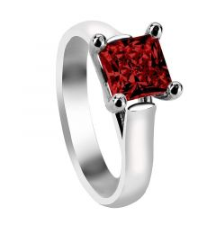 CORA Four Prong Solitaire Engagement Ring with Princess Cut Ruby Setting