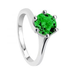 ESMERALDA Classic 6 Prong Solitaire Round Green Emerald Engagement Ring with Polished Finish