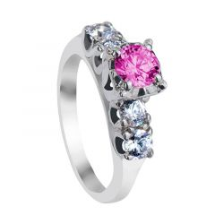 AMELIA Five Stone Pink & White Sapphire Engagement Ring with Polished Finish