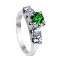 IARA Five Stone Emerald & White Sapphire Engagement Ring with Polished Finish
