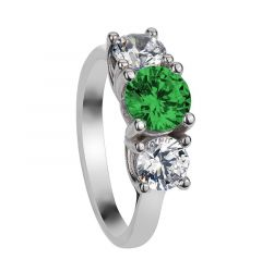 LAVERNE Classic Three Round Cut Stones Emerald & White Sapphire Engagement Ring