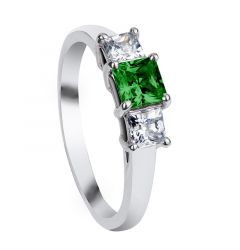 MIDORI Three Princess Cut Settings with Emerald & White Sapphire Engagement Ring