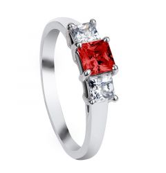 AUBURN Three Princess Cut Settings with Red & White Sapphire Engagement Ring
