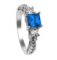 LARK Three Princess Cut Blue & White Sapphire Engagement Ring with Filagree Pattern