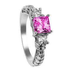 GENEVIEVE Three Princess Cut Pink & White Sapphire Engagement Ring with Filagree Pattern