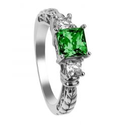 HOLLY Three Princess Cut Green Emerald & White Sapphire Engagement Ring with Filagree Pattern