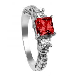 MARGAUX Three Princess Cut Ruby & White Sapphire Settings Engagement Ring with Filagree Pattern