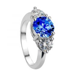 TEELA Vintage Three Stone Blue & White Sapphire Engagement Ring