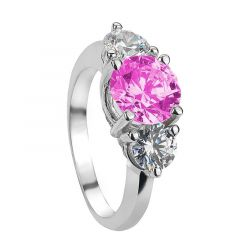 JASMINE Vintage Round Three Stone Pink & White Sapphire Engagement Ring