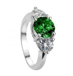JADE Vintage Three Stone Emerald & White Sapphire Engagement Ring