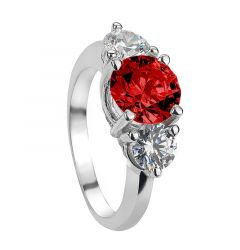ARUSHA Vintage Three Stone Ruby & White Sapphire Engagement Ring