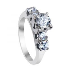FENELLA Five Stone White Sapphire Engagement Ring with Polished Finish