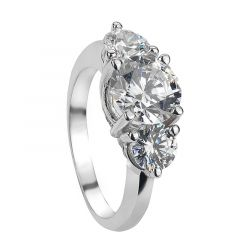 ELVA Vintage Round Three Stone White Sapphire Engagement Ring