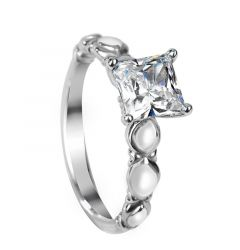 MOSELLE Four Prong Vintage Princess Cut Solitaire White Sapphire Engagement Ring