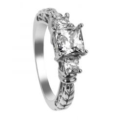 LEWANA Three Princess Cut White Sapphires Engagement Ring with Filagree Pattern