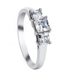 BLANCHE Three Princess Cut Stone Settings with White Sapphire Engagement Ring