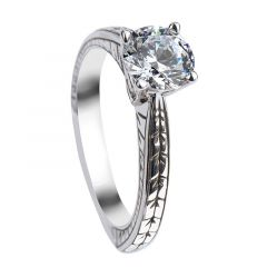 GALATEA Round Cut Solitaire White Sapphire Engagement Ring with Polished Filagree Pattern