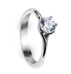 GWYNETH Six Prong Round Solitaire White Sapphire Engagement Ring with Polished Finish