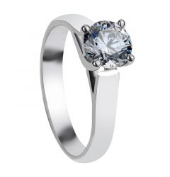CANDICE Cathedral Style Four Prong White Sapphire Engagement Ring with Polished Finish