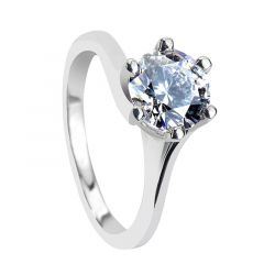 PETUNIA Classic Six Prong Solitaire Round White Sapphire Engagement Ring