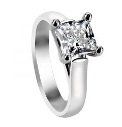 VANNA Four Prong Solitaire Engagement Ring with Princess Cut White Sapphire Setting