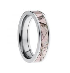 SERAPHINA Flat Titanium Ring with Pink Camo Inlay by Lashbrook Designs - 5mm