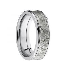 SOLSTICE Flat Titanium Ring with Meteorite Inlay by Lashbrook Designs - 7mm