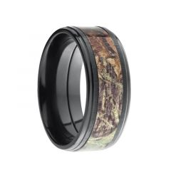 JAEGER Rasied Center Black Zirconium Ring Real Tree Camo Inlay by Lashbrook Designs - 9mm