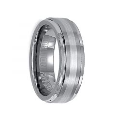 EMMETT Raised Brushed Center Tungsten Carbide Wedding Band with Polished Rounded Rims and Platinum Inlay by Triton Rings - 7 mm