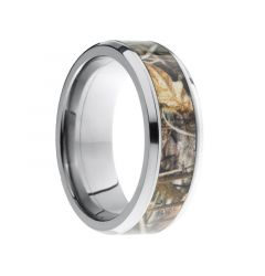 FALCONER Beveled Titanium Ring with Real Tree Camo Inlay by Lashbrook Designs - 8 mm
