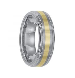 EUGENE Raised Brushed Center Tungsten Carbide Wedding Band with Polished Rounded Rims and 18k Gold Inlay by Triton Rings - 7 mm